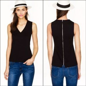 J.CREW structured v-neck ponte shell top NWT